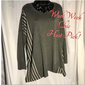 Retrology 3X? Gray & White Sweater